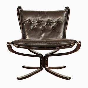 Leather Falcon Chair by Sigurd Ressell for Vatne Møbler, 1970s