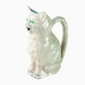 Antique French Majolica Cat Pitcher