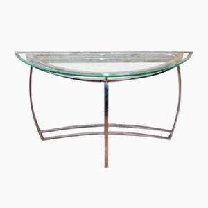 Consolle vintage in metallo cromato e vetro, anni '80