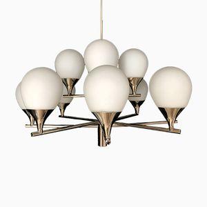 Deckenlampe aus Chrom & Opalglas von Kaiser, 1960er