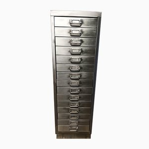 Industrial 15-Drawer Filing Cabinet in Stripped Metal