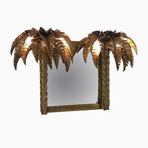 Specchio a forma di palma con luci di Maison Jansen, anni '70