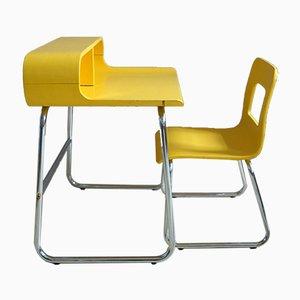 Juego de escritorio y silla infantil era espacial vintage