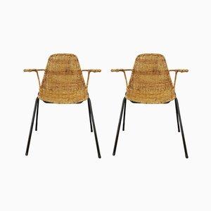 The Basket Stühle aus Korbgeflecht von Gian Franco Legler, 1950er, 2er Set