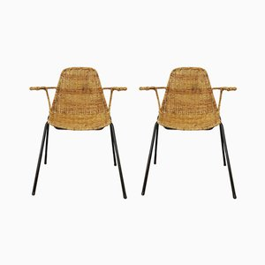 The Basket Wicker Chairs by Gian Franco Legler, 1950s, Set of 2