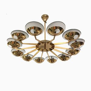 Brass & Glass Chandelier, 1950s