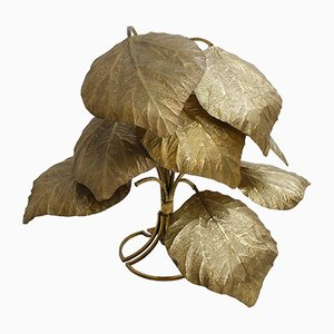 Italian Floor Lamp with Brass Leaves by Tommaso Barbi, 1970s