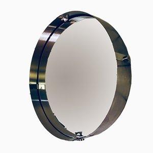 Espejo redondo grande de alumino cepillado, años 70