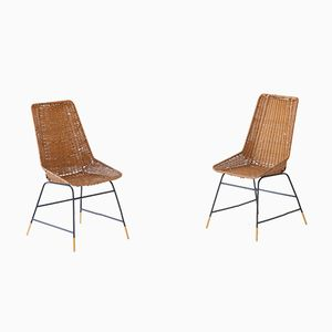 Italian Wicker, Brass & Black Enamel Iron Chairs, 1950s, Set of 2