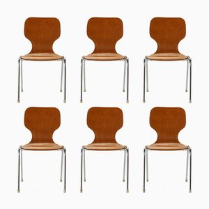 Plywood Stacking Chairs, 1960s, Set of 6