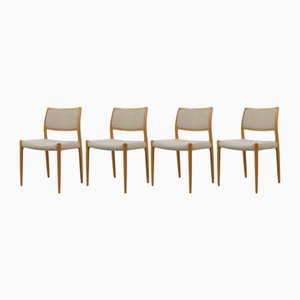 Modell 80 Stühle von Niels Otto Møller für J.L.Møllers, 1950er, 4er Set