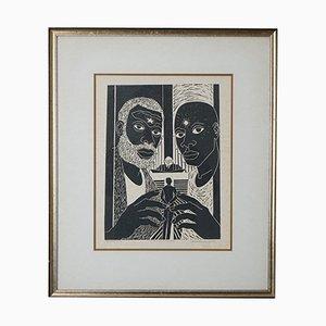 Xilografía Crossing The Bow de Valery Maynard, años 60