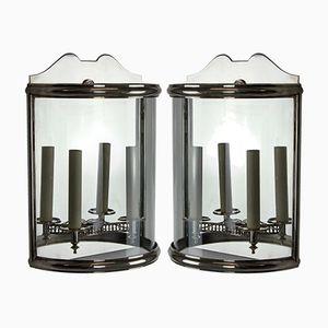 Lanternes Murales Demi-Lune Argentées Vintage, Set de 2
