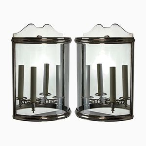 Vintage Silvered Demi Lune Wall Lanterns, Set of 2