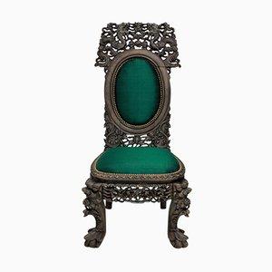 Antiker chinesischer Sessel mit Bezug aus smaragdgrüner Seide, 1880er
