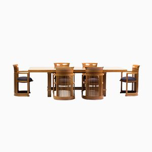 Dining Table and Barrel Chairs by Frank Lloyd Wright for Cassina, 1986
