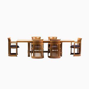 Esstisch & Stühle in Fass-Optik von Frank Lloyd Wright für Cassina, 1986