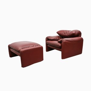 Maralunga 675 Lounge Chair & Ottoman by Vico Magistretti for Cassina, 1970s