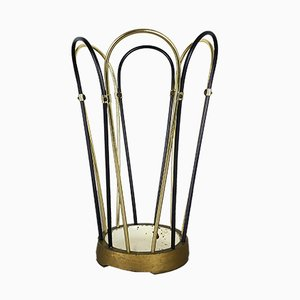 Modernist Umbrella Stand in Metal & Brass, 1950s