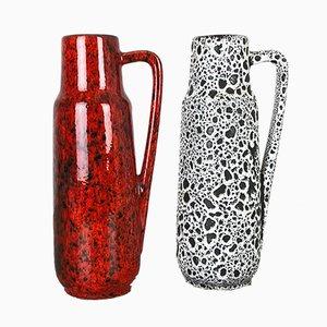 Glasierte Vintage Fat Lava Vasen von Scheurich, 2er Set