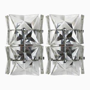 Apliques Mid-Century grandes con prismas de cristal de Kinkeldey, años 60. Juego de 2