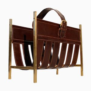 French Brass & Leather Magazine Rack, 1960s