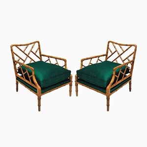 Mid-Century Cockpen Armlehnstühle aus Kunstbambus, 2er Set