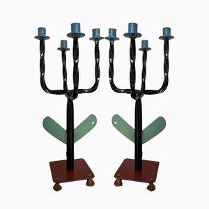 Französische Vintage Kerzenständer aus Gusseisen, 1950er, 2er Set