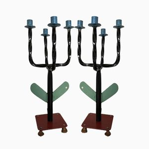 Vintage French Wrought-Iron Candelabras, 1950s, Set of 2