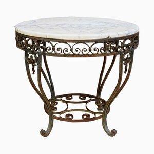 Lackierter Tisch mit Gestell aus Metall & Tischplatte aus Marmor, 1920er
