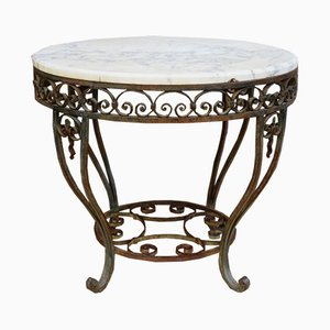 Painted Metal & Marble Top Coffee Table, 1920s