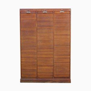 Triple Oak Tambour Front Cabinet, 1940s