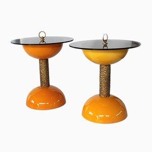 Mesas auxiliares italianas de resina con bronce de Bonci-Florence, años 60. Juego de 2