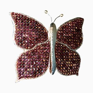 Butterfly Wall Lamp with Crystal Beads from Palwa, 1970s