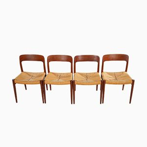 Vintage Model 75 Dining Chairs by Niels Otto Møller for J.L. Møllers, Set of 4