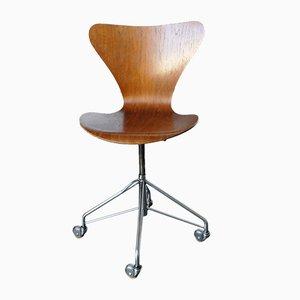 Sedia girevole nr. 3117 vintage in titanio di Arne Jacobsen per Fritz Hansen, 1969