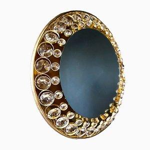 Specchio vintage illuminato in ottone e cristallo di Palwa, anni '60