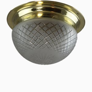Antike Jugendstil Deckenlampe aus Messing