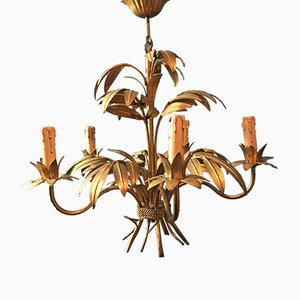 Hollywood Regency Palm Leaf Chandelier by Hans Kögl, 1970s