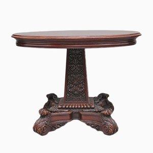 Tavolo antico in legno di noce intarsiato, fine XIX secolo