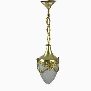 Antique Art Nouveau Bronze Hanging Lamp