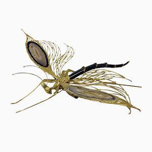 Lampada vintage a forma di libellula in ottone dorato e agata