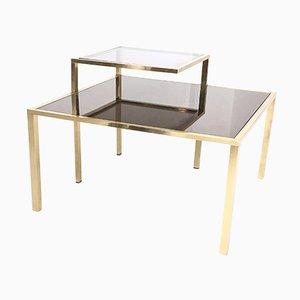 Tavolino da caffè quadrato in ottone, anni '80