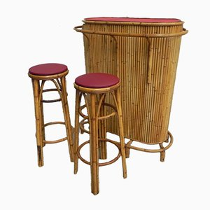 Mobile bar vintage in bambù con sgabelli