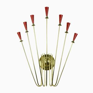 Vintage Red 7-Light Brass Wall Light, 1950s