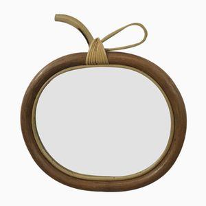 Specchio Apple Mid-Century in bambù e rattan