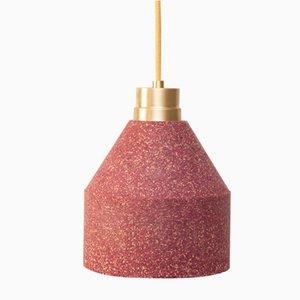 Rote 70 WS Lampe aus Kork mit Punktemuster von Paula Corrales Studio