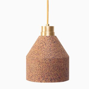 70 WS Lamp in Natural Cork with Bordeaux & Pink Dots by Paula Corrales Studio