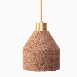 70 WS Lampe aus Naturkork mit Punktemuster in Bordeaux & Pink von Paula Corrales Studio
