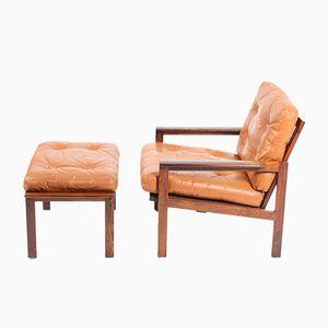 Vintage Sessel mit Fußhocker aus Palisander von Illum Wikkelsø für Niels Eilersen